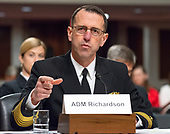 """United States Navy Admiral John M. Richardson, Chief of Naval Operations, testifies before the US Senate Committee on Armed Services """"on the posture of the Department of the Navy in review of the Defense Authorization Request for Fiscal Year 2019 and the Future Years Defense Program"""" on Thursday, April 19, 2018.<br /> Credit: Ron Sachs / CNP"""