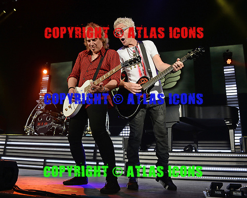 WEST PALM BEACH, FL - JULY 20: Dave Amato and Kevin Cronin of REO Speedwagon perform at The Coral Sky Amphitheatre on July 20, 2018 in West Palm Beach Florida. Credit Larry Marano © 2018