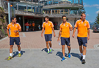 Austria, Kitzbuhel, Juli 15, 2015, Tennis, Davis Cup, Dutch team, On the way for a photoshoot to the top of the &quot;Hahnenkam&quot;  lts:  Jesse Huta Galung, Robin Haase,  Jean-Julien Rojer and Thiemo de Bakker<br /> Photo: Tennisimages/Henk Koster