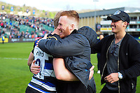 Will Homer of Bath Rugby celebrates with Rory Jennings and Brett Herron after the match. Aviva Premiership match, between Bath Rugby and Sale Sharks on April 23, 2016 at the Recreation Ground in Bath, England. Photo by: Patrick Khachfe / Onside Images
