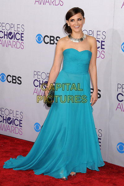 Rachael Leigh Cook.People's Choice Awards 2013 - Arrivals held at Nokia Theatre L.A. Live, Los Angeles, California, USA..January 9th, 2013.full length blue strapless dress black clutch bag silver necklace .CAP/ADM/BP.©Byron Purvis/AdMedia/Capital Pictures.