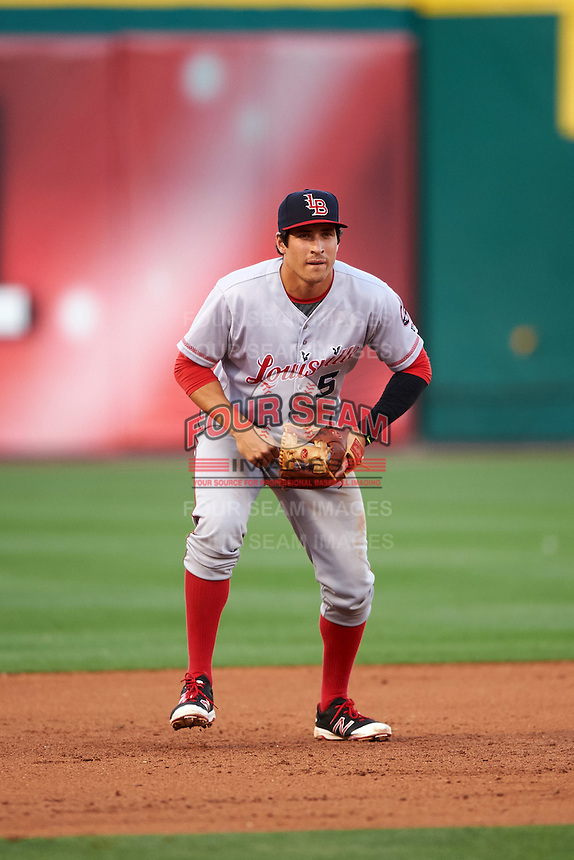 Louisville Bats third baseman Seth Mejias-Brean (5) during a game against the Buffalo Bisons on June 22, 2016 at Coca-Cola Field in Buffalo, New York.  Buffalo defeated Louisville 8-1.  (Mike Janes/Four Seam Images)