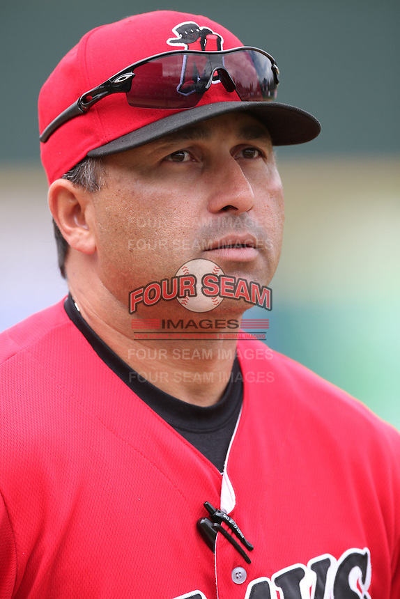 Jose Moreno #24, manager of the High Desert Mavericks, before game against the Rancho Cucamonga Quakes at The Epicenter in Rancho Cucamonga,California on May 8, 2011. Photo by Larry Goren/Four Seam Images