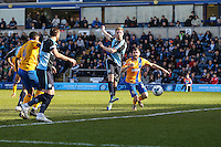 Jason McCarthy of Wycombe Wanderers shoots during the Sky Bet League 2 match between Wycombe Wanderers and Mansfield Town at Adams Park, High Wycombe, England on 25 March 2016. Photo by David Horn.