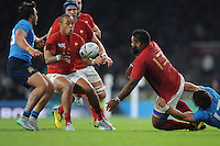 Mathieu Bastareaud of France offloads to Gaël Fickou of France as he is tackled by Enrico Bacchin of Italy during Match 5 of the Rugby World Cup 2015 between France and Italy - 19/09/2015 - Twickenham Stadium, London <br /> Mandatory Credit: Rob Munro/Stewart Communications