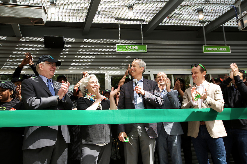 New York, NY - May 20, 2015: Danny Meyer cuts the ribbon at the reopening of Shake Shack in Madison Square Park.<br /> <br /> &copy; Clay Williams / claywilliamsphoto.com
