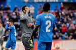 Getafe CF's Djene Dakoman and Real Sociedad's Willian Jose Da Silva during La Liga match between Getafe CF and Real Sociedad at Coliseum Alfonso Perez in Getafe, Spain. December 15, 2018. (ALTERPHOTOS/A. Perez Meca)