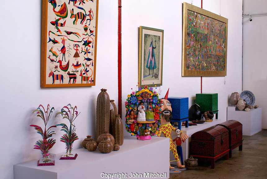 Art gallery at Fabrica La Aurora Art and Design Center, San Miguel de Allende, Mexico. San Miguel de Allende is a UNESCO World Heritage Site....