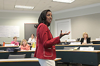 Senior Associate Dean for Executive Education Erika James teaches in The Women's Leadership Program at the Darden School of Business in Charlottesville, VA. The executive education program builds on participants' strengths and highlights the specific behaviors that are critical in effective leadership. Photo/Andrew Shurtleff