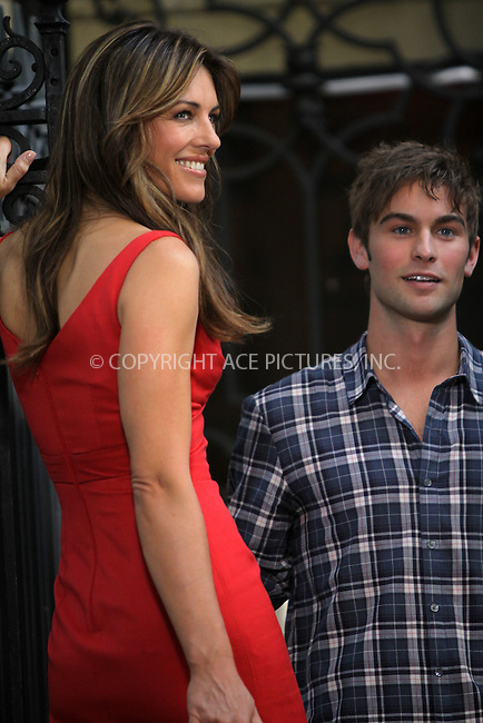 "WWW.ACEPIXS.COM . . . . .....July 13 2011, New York City....Actors Elizabeth Hurley and Chace Crawford on the Manhattan set of the TV show ""Gossip Girl"" on July 13 2011 in New York City  ....Please byline: CURTIS MEANS - ACE PICTURES.... *** ***..Ace Pictures, Inc:  ..Philip Vaughan (212) 243-8787 or (646) 679 0430..e-mail: info@acepixs.com..web: http://www.acepixs.com"