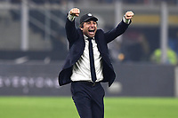 9th February 2020, Milan, Italy; Serie A football, AC Milan versus Inter-Milan;  Antonio Conte coach of Inter Milan celebrates as his team make a great comeback from being 2 goals down, to win the game