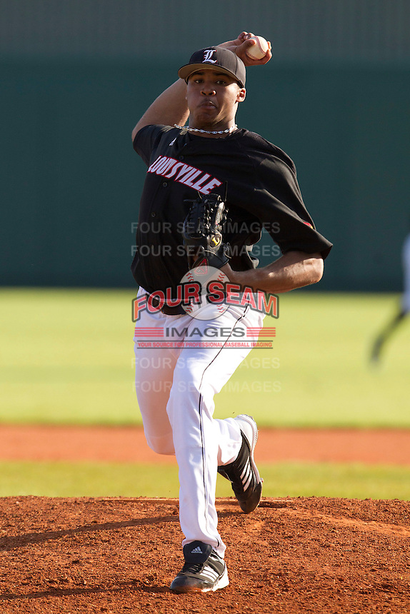 Louisville Cardinals starting pitcher Jeff Thompson #44 during a game against the Illinois Fighting Illini at the Big Ten/Big East Challenge at Al Lang Stadium on February 18, 2012 in St. Petersburg, Florida.  (Mike Janes/Four Seam Images)