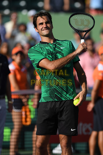 KEY BISCAYNE, FL - MARCH 30 : Roger Federer Vs Tomas Berdych during the Miami Open at Crandon Park Tennis Center on March 30, 2017 in Key Biscayne, Florida. <br /> CAP/MPI04<br /> &copy;MPI04/Capital Pictures