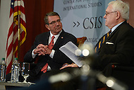 Washington, DC - April 5, 2016: U.S. Secretary of Defense Ashton Carter listens to a question from former Secretary William S. Cohen on the future of the Department of Defense at the Center for Strategic and International Studies in the District of Columbia, April 5, 2016.  (Photo by Don Baxter/Media Images International)