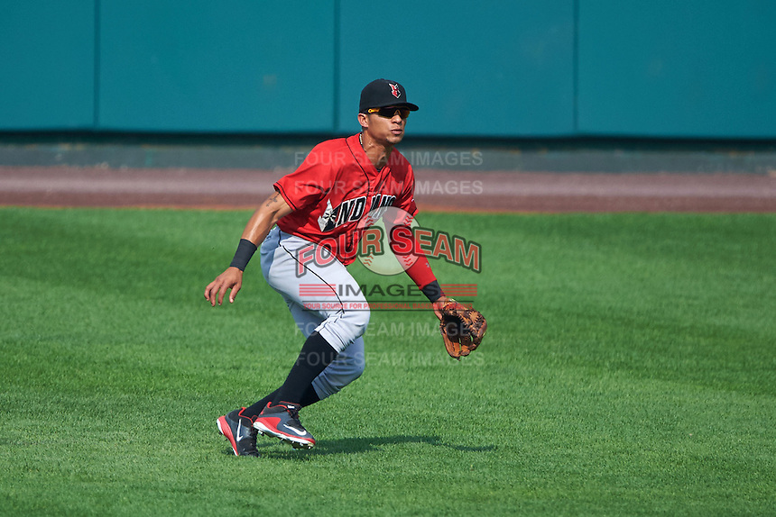 Indianapolis Indians outfielder Gorkys Hernandez (7) fields a hit during a game against the Rochester Red Wings on June 10, 2015 at Frontier Field in Rochester, New York.  Indianapolis defeated Rochester 5-3.  (Mike Janes/Four Seam Images)