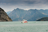 Sebino water bus on Lake Iseo or Lago d'Iseo or Sebino is the fourth largest lake in Lombardy, Italy, fed by the Oglio river. It is in the north of the country in the Val Camonica area, near the cities of Brescia and Bergamo.
