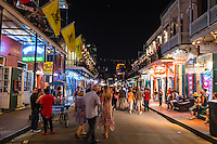 This is a typical Saturday night on Bourbon Street in the French quarter at  night.  The crowd was still not too bad here but as the night continued on it got harder and harder to walk