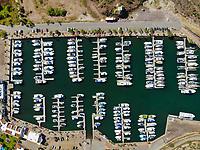 Aerial view of yacht pier and boats. Bahia and hills next to the desert in San Carlos, Sonora, Mexico. Gulf of California. Sea of Cort&eacute;s. Mar Bermejo, is located between the peninsula of Baja California and the states of Sonora and Sinaloa, northwest of Mexico. Tourist destination, trips. Blue, Boats, calm. High Angle View (Photo: Luis Gutierrez / NortePhoto.com)<br /> .......<br /> Vista aerea de embarcadero de yates y Barcos. bahia y cerros  junto al desierto en San Carlos, Sonora, Mexico. Golfo de California. mar de Cort&eacute;s. mar Bermejo, se  ubica entre la pen&iacute;nsula de Baja California y los estados de Sonora y Sinaloa, al noroeste de M&eacute;xico. Destino turistico, viajes. Azul, Barcos, calma. High Angle View  (Photo: Luis Gutierrez / NortePhoto.com)