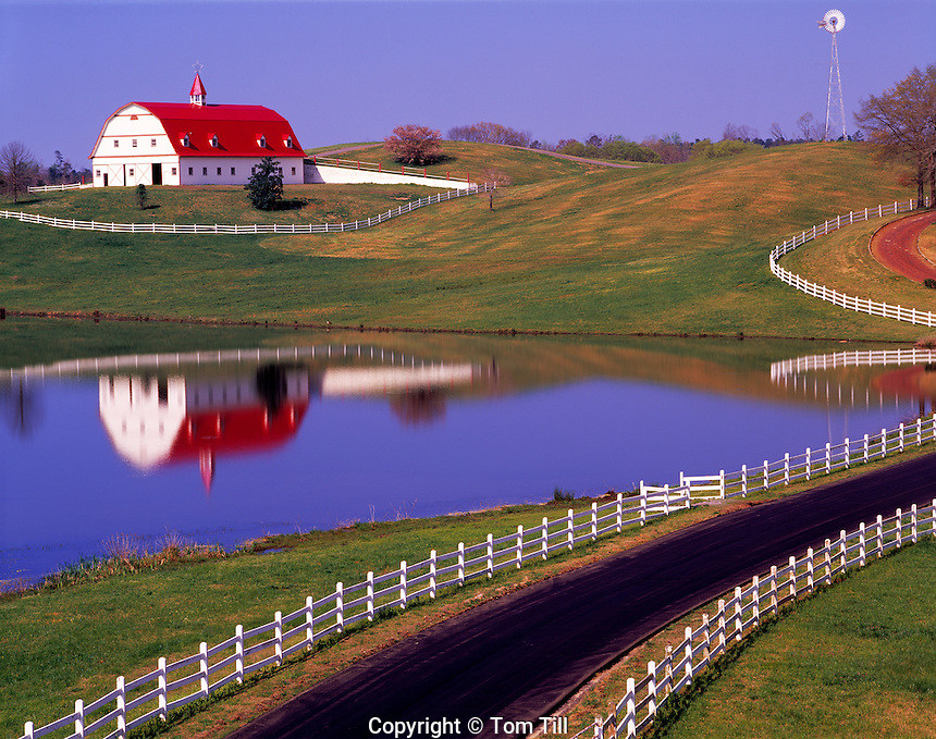 Barn Reflected in Farm Pond, Jefferson County, Alabama Southern Appalachian Mountain Foothills    Morning