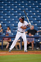 Mississippi Braves shortstop Luis Valenzuela (1) at bat during a game against the Mobile BayBears on May 7, 2018 at Trustmark park in Pearl, Mississippi.  Mobile defeated Mississippi 5-0.  (Mike Janes/Four Seam Images)