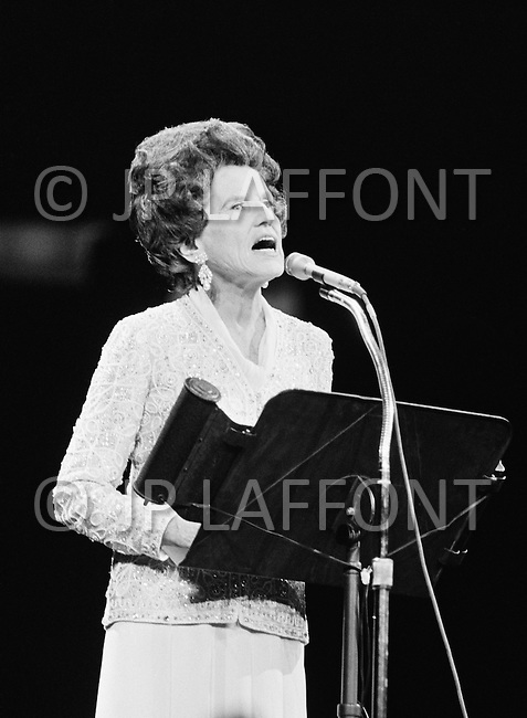 "27 Oct 1972. Rose Kennady giving support during a Women-Only concert to Senator George McGovern of South Dakota, the Democratic candidate for the presidential campaign against Richard Nixon. The ""Musical Spectacular"" at Madison Square Garden also showcased the talents of Dionne Warwick, Melina Mercouri, Mary Travers, Shirley McLaine, Judy Collins, and Bette Davis."