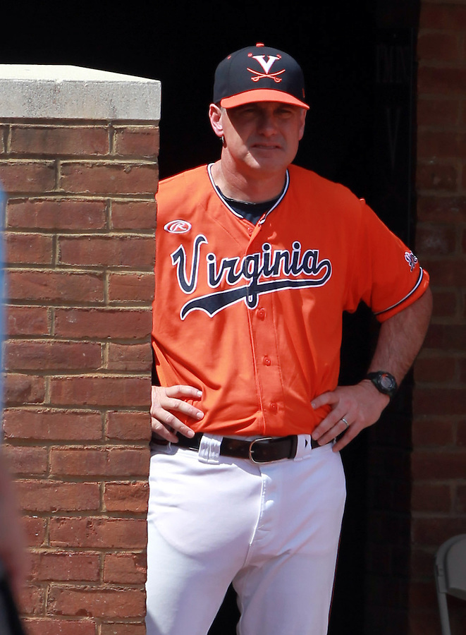 Virginia head coach Brian O'Connor watches from the dugout during the game against Clemson Sunday at Davenport Field in Charlottesville, VA. Photo/Daily Progress/Andrew Shurtleff