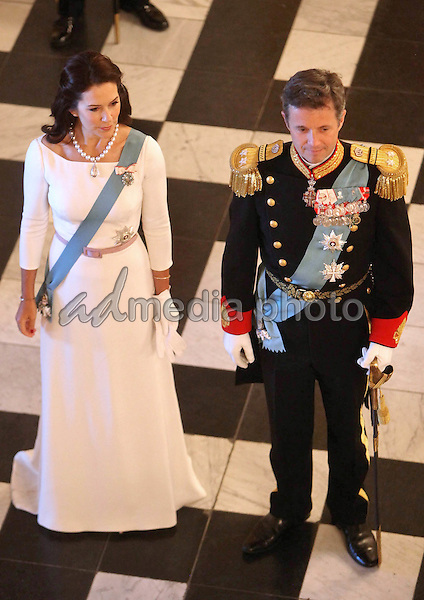 05 January 2016 - Copenhagen, Denmark - Queen Margrethe and Prince Frederik and Princess Mary arrive for the annual new years reception for the ambassadors at Christiansborg Palace. Photo Credit: PPE/face to face/AdMedia