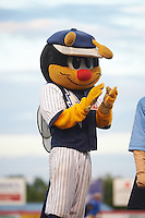 Binghamton Mets mascot Buddy the Bee during a game against the Trenton Thunder on August 8, 2015 at NYSEG Stadium in Binghamton, New York.  Trenton defeated Binghamton 4-2.  (Mike Janes/Four Seam Images)