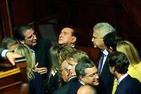 Silvio Berlusconi in mezzo ai suoi senatori con Denis Verdini<br /> Roma 02-10-2013 Senato. Discorso programmatico del Presidente del Consiglio a cui segue un voto di fiducia per risolvere la crisi di governo.<br /> Speech of the italian premier at the senate and voctation to solve the crisis of the government.<br /> Photo Samantha Zucchi Insidefoto