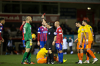 Josh Passley (left) of Dagenham & redbridge is given a straight red during the Sky Bet League 2 match between Dagenham and Redbridge and Wycombe Wanderers at the London Borough of Barking and Dagenham Stadium, London, England on 9 February 2016. Photo by Andy Rowland.