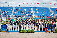 Geat Britain take the Team Gold Medal for the FEI World Team Eventing Championship. Piggy French; Gemma Tattersall; Rosalind Canter; Tom McEwen.  2018 FEI World Equestrian Games Tryon. Monday 17 September. Copyright Photo: Libby Law Photography