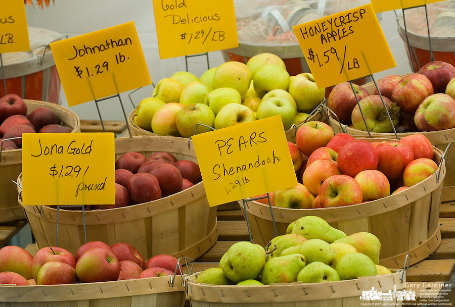 Apples displayed at roadside farm market at an apple orchard near Pataskala, Ohio.<br />