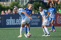Allston, MA - Saturday August 19, 2017: Alanna Kennedy, Megan Oyster, Marta Vieira Da Silva during a regular season National Women's Soccer League (NWSL) match between the Boston Breakers and the Orlando Pride at Jordan Field.