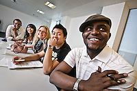 Photos for Kingston University  London international student brochures and prospectuses.??Interactive teaching.  Lecturer Heidi James-Dunbar using a whiteboard to give a mock lecture on metaphors in English. Students listening and participating.??Date Taken: 19/04/10??Location: John Galsworthy Building, Penrhyn Rd campus.?Contact:??Commissioned by:  Kingston University - Emma Carlino?Emma Carlino.International Marketing Communications Manager.International Centre.Kingston University London.Swan Wing, River House.53-57 High Street.Kingston upon Thames.London.KT1 1LQ.UK.Tel: +44(0)20 8417 3006.Fax: +44(0)20 8417 3028.Email: e.carlino@kingston.ac.uk.Website: www.kingston.ac.uk/international