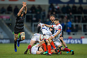 3rd February 2019, AJ Bell Stadium, Salford, England; Premiership Rugby Cup, Sale Sharks versus Newcastle Falcons; Will Cliff of Sale Sharks clears the ball