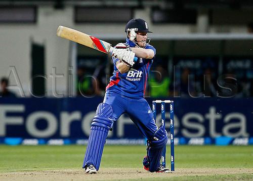 12.02.2013. Hamilton, New Zealand.  England's Eoin Morgan battinh.  ANZ T20 series. 2nd Twenty20 Cricket international.  New Zealand Black Caps vs England at Seddon Park, Hamilton, New Zealand.