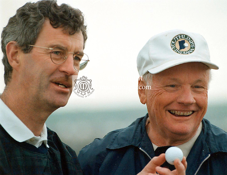 Astronaut Neil Armstrong who died at the weekend rated Ballybunion in Countuy Kerry as one of his favourite places in the world pictured playing golf in 2001 with former tanaiste Dick Spring.<br /> Picture by Don MacMonagle