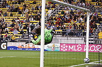 25 OCTOBER 2009:  Kenny Schoeni of the Columbus Crew (25) attampts to make a save of a free kick during the New England Revolution at Columbus Crew MLS game in Columbus, Ohio on October 25, 2009.