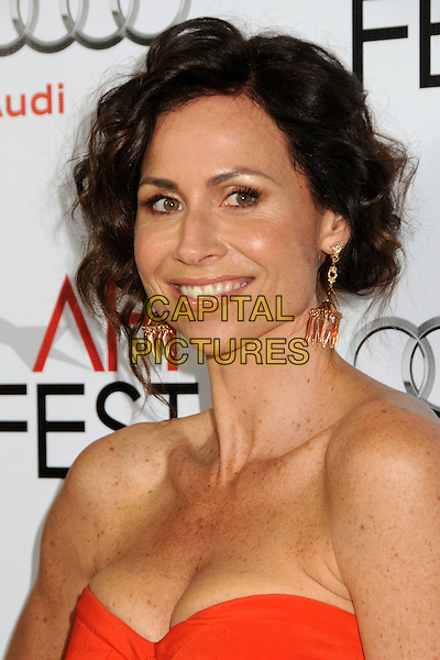 "MINNIE DRIVER .AFI Fest 2010 Screening of ""Barney's Version"" held at The Egyptian Theatre, Hollywood, California, USA, .6th November 2010..portrait headshot smiling hair up cleavage freckles gold dangly earrings strapless orange .CAP/ADM/BP.©Byron Purvis/AdMedia/Capital Pictures."