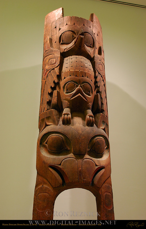 Totemic Door Frame, Thunderbird and Raven, Red Cedar, Haida c. 1870, Tanu Village, Moresby Island, Haida Gwaii Archipelago, British Columbia Canada, British Museum, London, England, UK