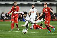 30th July 2020; Bankwest Stadium, Parramatta, New South Wales, Australia; A League Football, Adelaide United versus Perth Glory; Bruno Fornaroli of Perth Glory makes a spectacular attempt to connect to a cross but mistimes the header