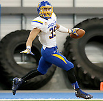 BROOKINGS, SD - APRIL 23:  Isaac Wallace #35 from South Dakota State scores a touchdown during their Spring Game Saturday afternoon at the Sanford Jackrabbit Athletic Complex in Brookings.  (Photo by Dave Eggen/Inertia)