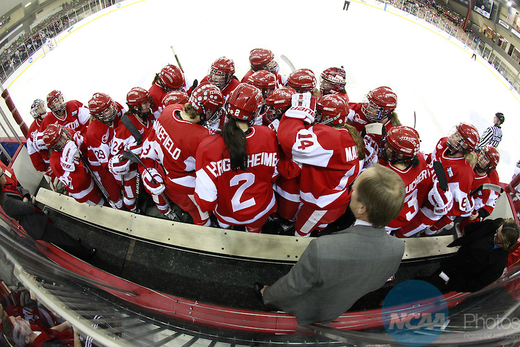 20 MAR 2011:  Boston University plays the University of Wisconsin in the Division I Women's Ice Hockey Championship held at Tulio Arena on the Mercyhurst College campus in Erie, PA.  Wisconsin defeated Boston University 4-1 to win the national title.  Harry Scull Jr./ NCAA Photos.