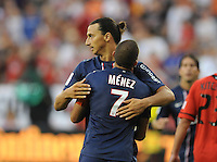 Paris St Germain forward Ibrahimovic Zlatan (18) celebrates his score with team mate Jeremy Menez (7)  D.C. United tied Paris St. Germain 1-1 at RFK Stadium, Saturday 28, 2012.