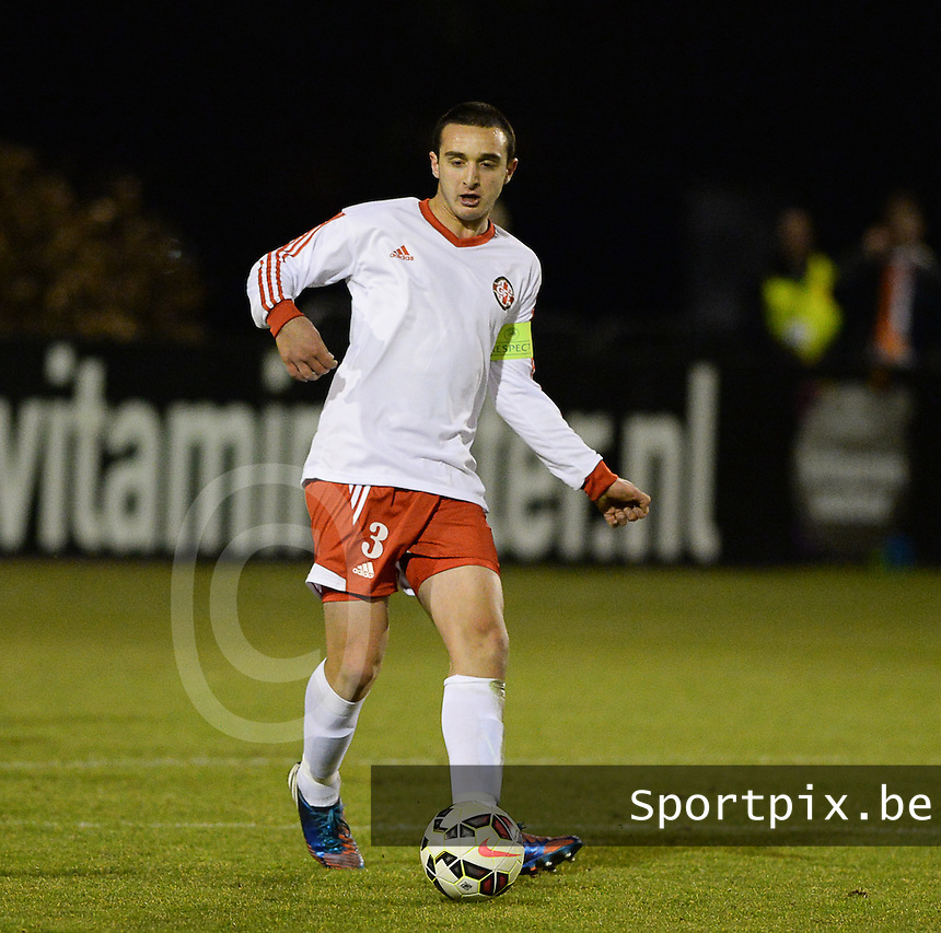 20150312 - SCHIJNDEL , NETHERLANDS  : Georgian Nikolozi Kurshavishvili pictured during the soccer match between Under 17 teams of The Netherlands and Georgia  , on the first matchday in group 3 of the UEFA Elite Round Under 17 at Sportpark Zuideinderpark , Schijndel , The Netherlands . Thursday  12 th March 2015 . PHOTO DAVID CATRY