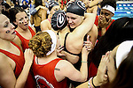 19 MAR 2016: Members of the Georgia swim team celebrate after placing second in the 400 Yard Freestyle Relay final during the Division I Women's Swimming & Diving Championship held at the Georgia Tech Aquatic Center in Atlanta, GA. The second place finish secured UGA's overall team championship with a final score of 414. David Welker/NCAA Photos