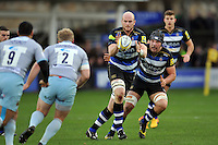 Matt Garvey of Bath Rugby receives the ball. Aviva Premiership match, between Bath Rugby and Northampton Saints on December 5, 2015 at the Recreation Ground in Bath, England. Photo by: Patrick Khachfe / Onside Images