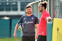 Jeff Williams of Bath Rugby speaks with Mike Ellery of Saracens during the pre-match warm-up. Aviva A-League match, between Bath United and Saracens Storm on September 1, 2017 at the Recreation Ground in Bath, England. Photo by: Patrick Khachfe / Onside Images