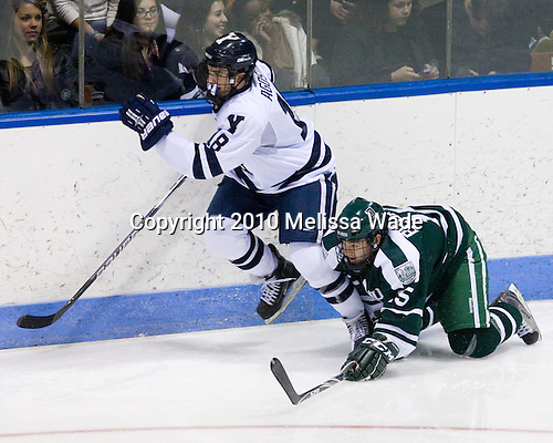 Kenny Agostino (Yale - 18), Jason Bourgea (Dartmouth - 15) - The Yale University Bulldogs defeated the Dartmouth Big Green 7-3 in the Ivy Shootout championship on Saturday, October 30, 2010 at Ingalls Rink in New Haven, Connecticut.