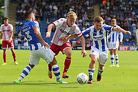 Alex Samuel of Stevenage tangles with Tom Lapslie of Colchester United during Colchester United vs Stevenage, Sky Bet EFL League 2 Football at the Weston Homes Community Stadium on 12th August 2017